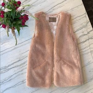 Zara Girls Faux Fur Vest, Pink